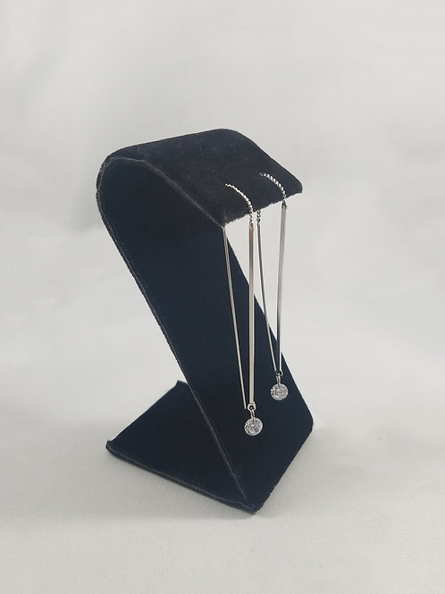 Crystal Drop Thread Earrings Rhodium
