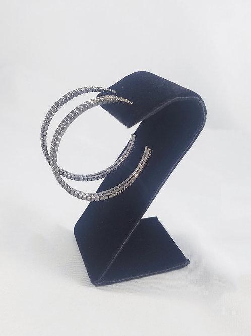 Large 2 Line Hoop Earrings Black