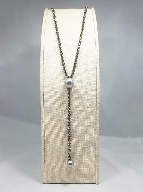 Pearl Y-Long Necklace Black