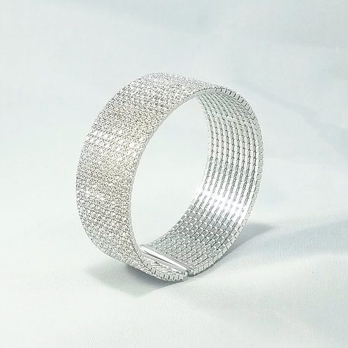 10 Line Bangle Rhodium
