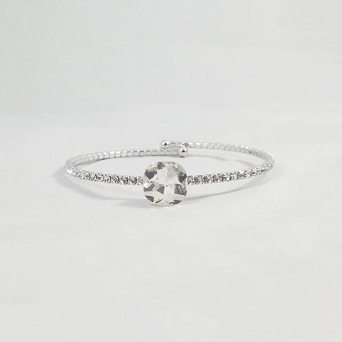 Single Crystal 1 Line Bangle Rhodium