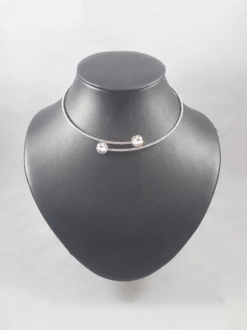 Twin 1 Line Necklace Rhodium