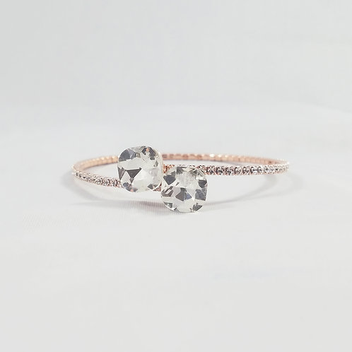 Twin Crystal 1 Line Bangle Rosegold
