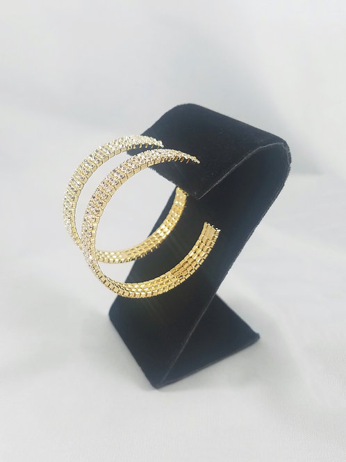 Large 3 Line Hoop Earrings Gold