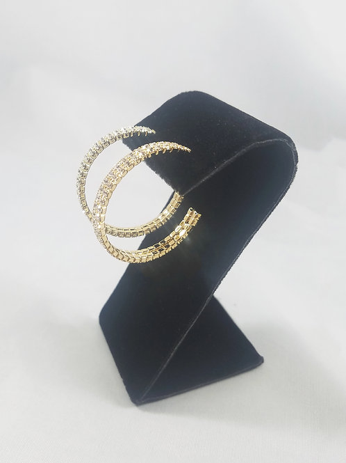Medium 2 Line Hoop Earrings Gold
