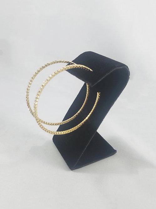 Large 1 Line Hoop Earrings Gold