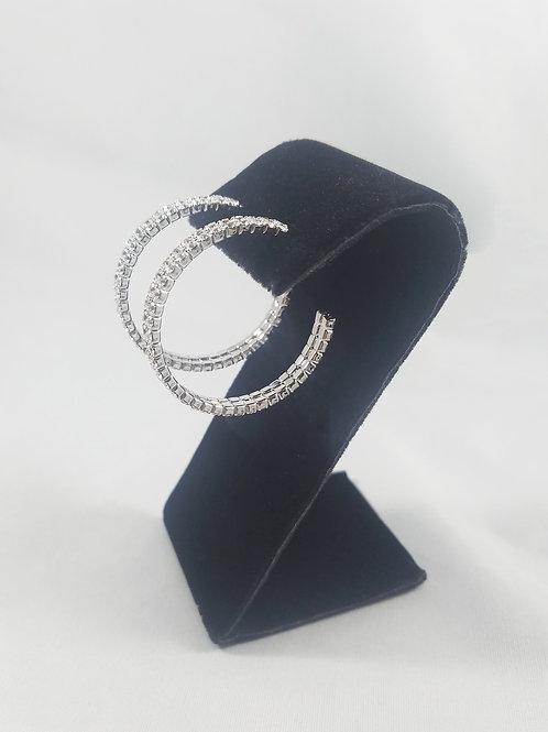 Medium 2 Line Hoop Earrings Rhodium