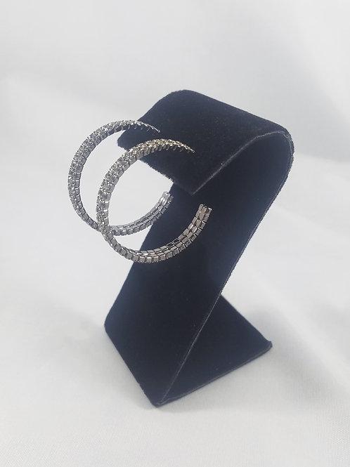 Medium 2 Line Hoop Earrings Black