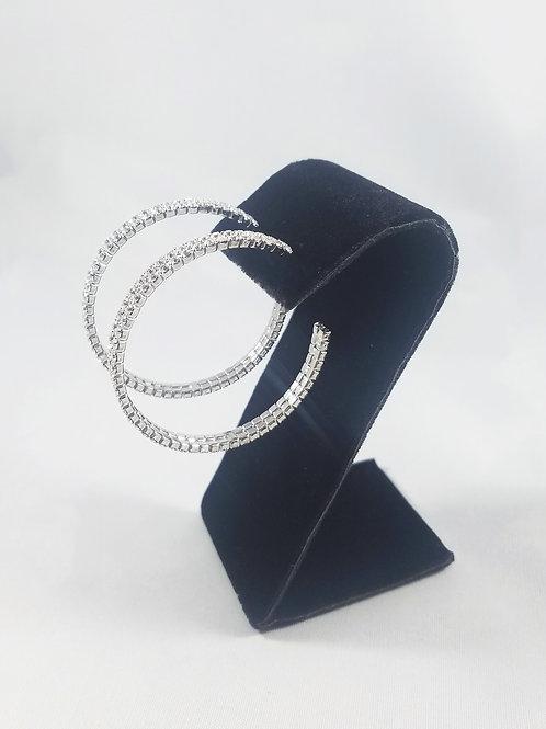Large 2 Line Hoop Earrings Rhodium
