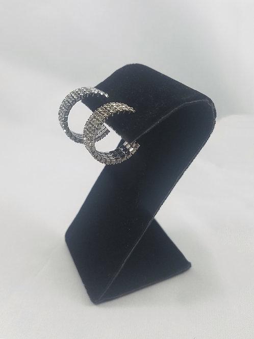 Extra Small 3 Line Hoop Earrings Black