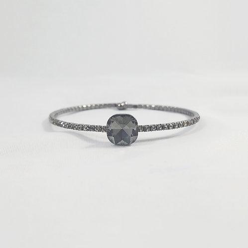 Single Crystal 1 Line Bangle Black