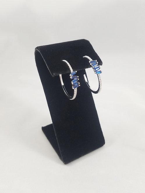 Heartbeat Hoop Earrings Blue