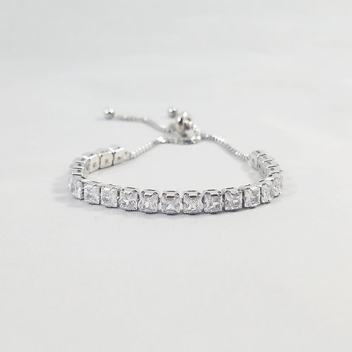 Cube Adjustable Bracelet Rhodium