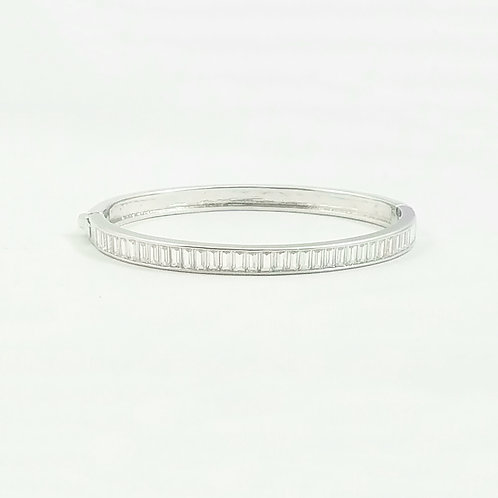 Emerald Cut Bangle Rhodium