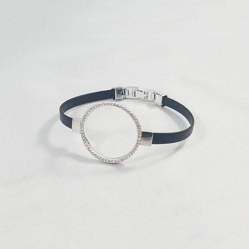 Round Leather Bracelet Rhodium