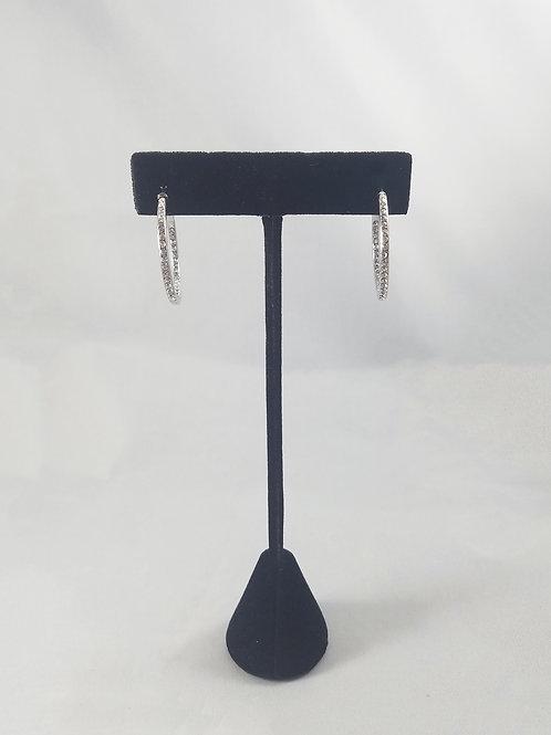 Small In & Out Hoop Earrings Rhodium