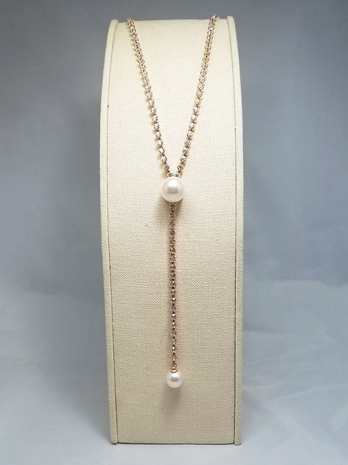 Pearl Y-Long Necklace Gold