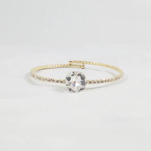 Single Crystal 1 Line Bangle Gold