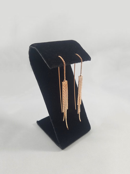 Angle Hair Thread Earrings Rosegold