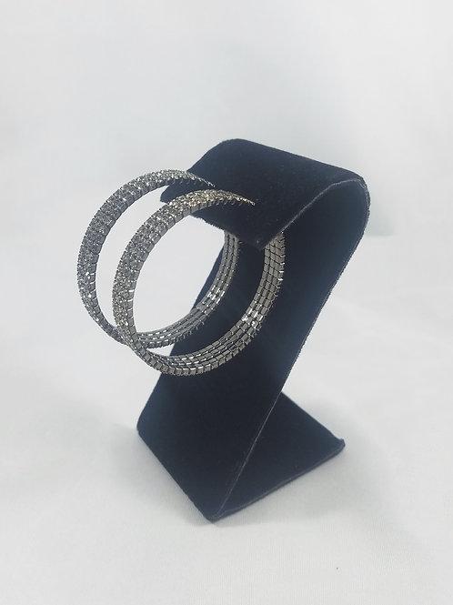 Large 3 Line Hoop Earrings Black