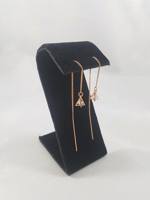 Triangle Drop Thread Earrings Rosegold