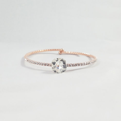 Single Crystal 1 Line Bangle Rosegold