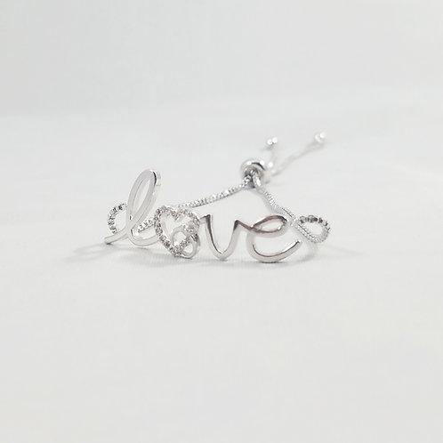 Love 2 Adjustable Bracelet Rhodium
