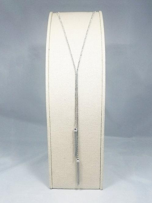 Tassel Y-Long Necklace Rhodium