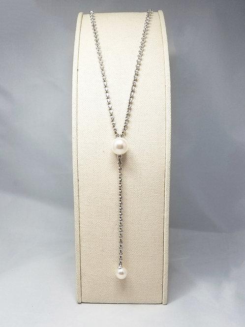 Pearl Y-Long Necklace Rhodium