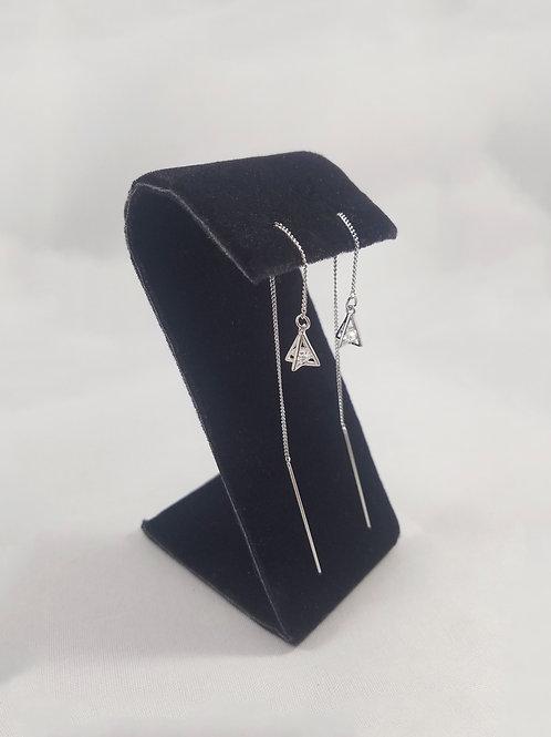 Triangle Drop Thread Earrings Rhodium