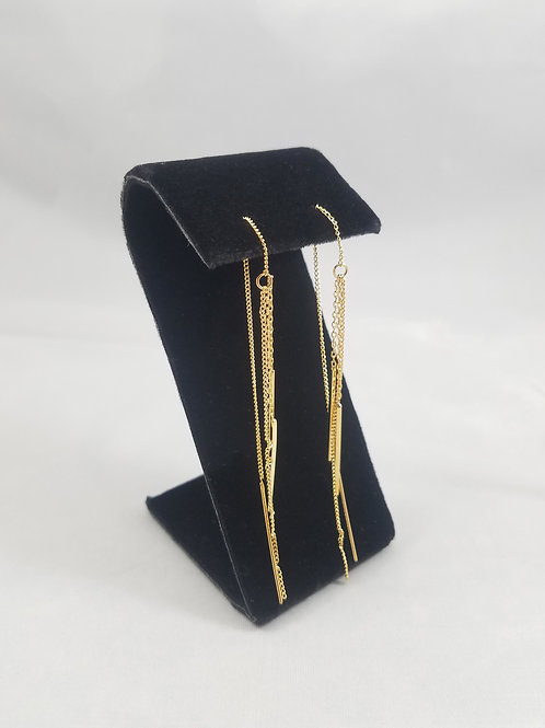 Chain Thread Earrings Gold