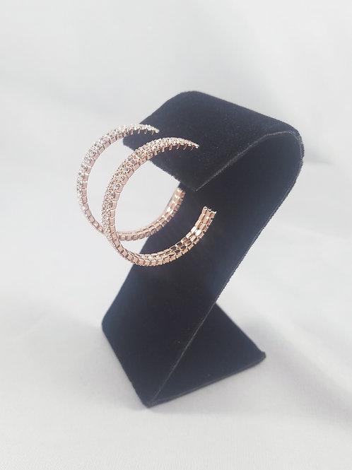 Medium 2 Line Hoop Earrings Rosegold