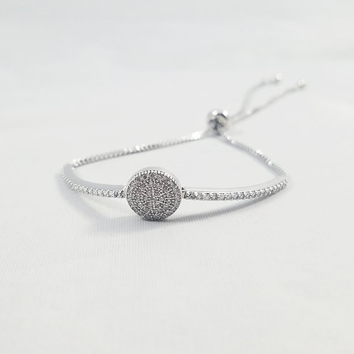 Karma Adjustable Bracelet Rhodium