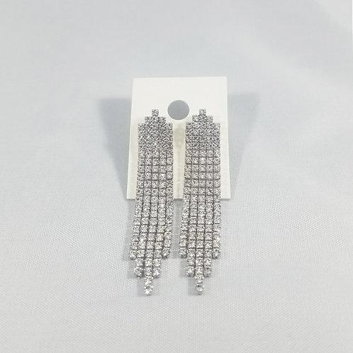 5 Line Drop Earrings Rhodium