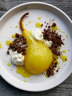 Turmeric poached pear & cardamom soil