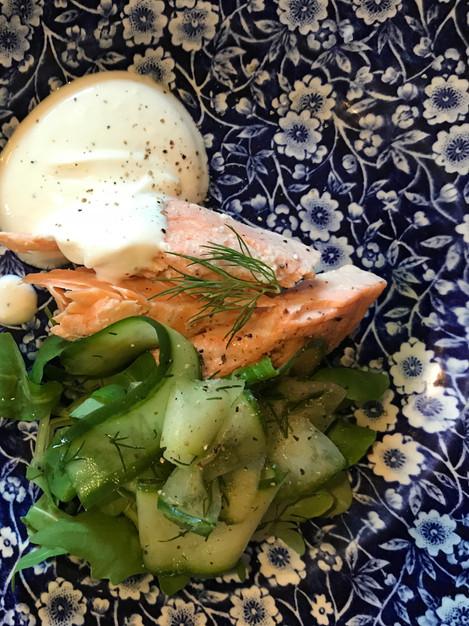 Salmon & pickled dill cucumber salad