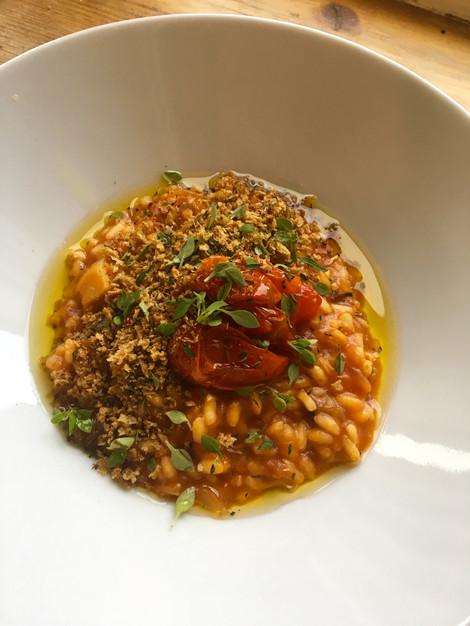Rissoto Pomodoro with sourdough crumb & chilli oil
