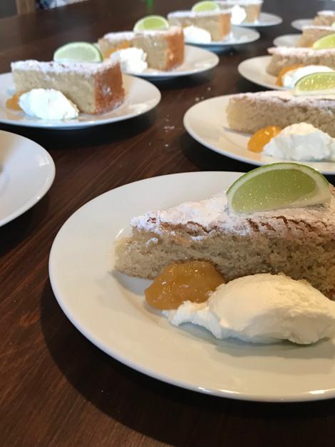 Almond cake with lemon curd & citrus mascarpone