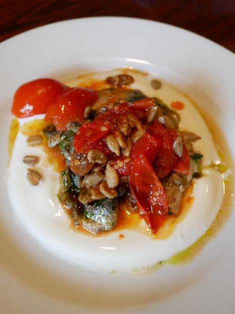 Sardines, agrodulce & lemon yoghurt