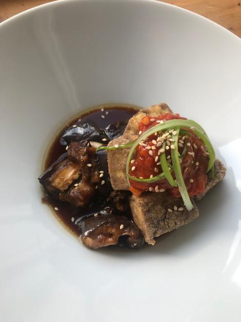 Crisp tofu, steamed aubergine & cardamom passata