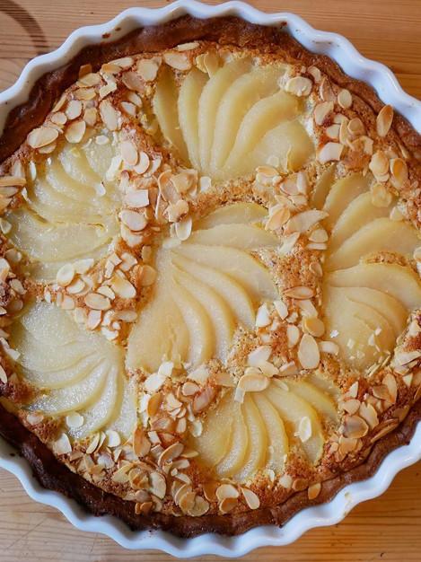 Pear & frangipani tart