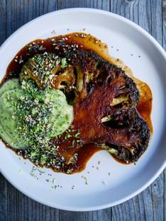 Miso braised broccoli & skordila