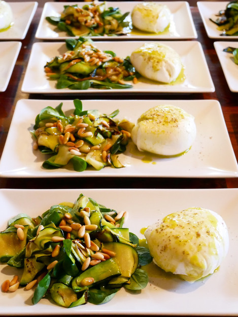 Burrata with griddled basil courgettes