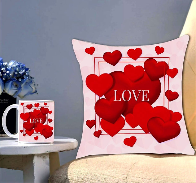 Valentine Day Special Printed Cushion & Mug Gift Pack