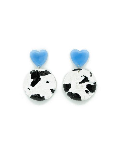 Pendientes círculo vaca azul bebé