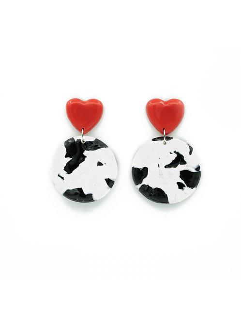 Pendientes círculo vaca rojo