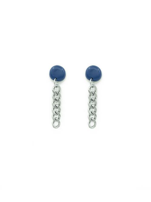 Pendientes círculo + cadena azul marino