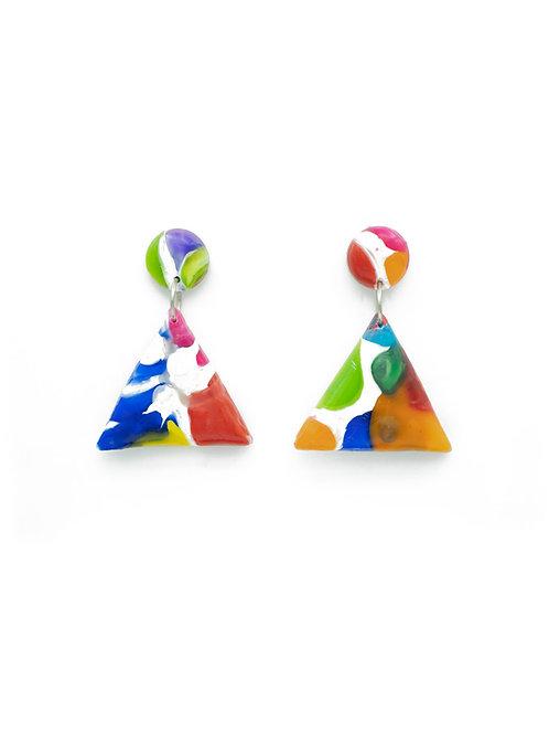 Pendientes triángulos colores