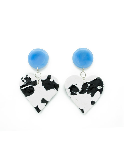 Pendientes corazón vaca azul bebé