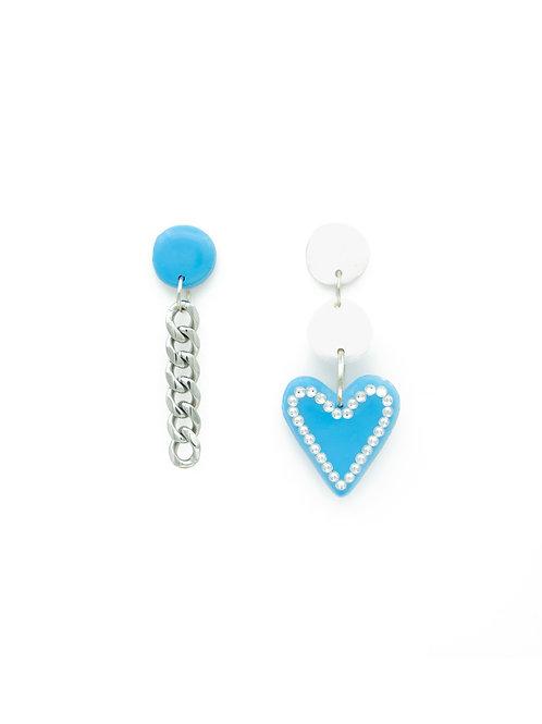 Pendientes corazón brilli + cadena azul bezoya